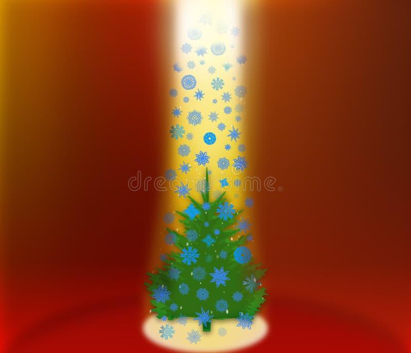 Фантастичное мех-дерево с падая снежинками бесплатная иллюстрация