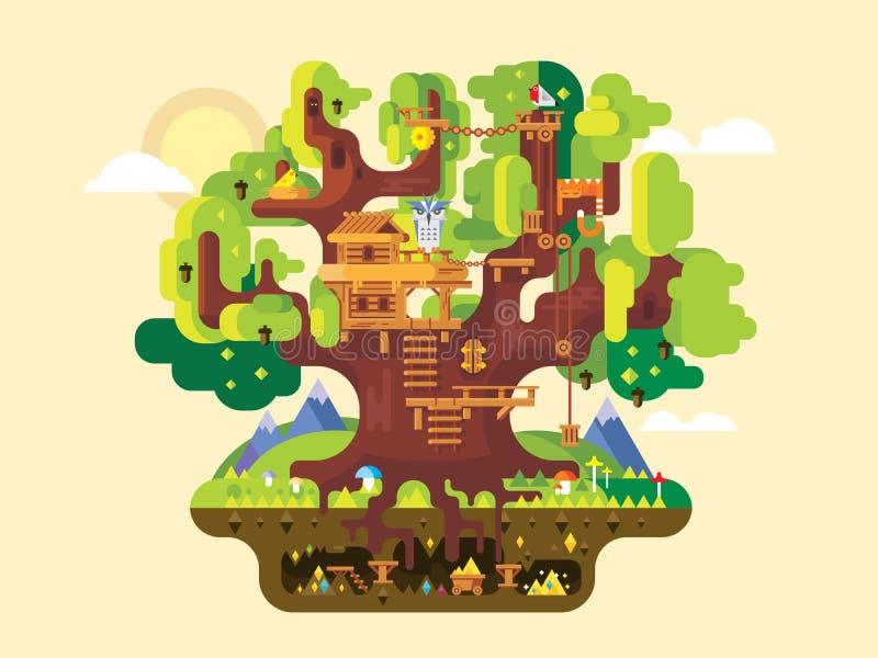 Фантастичный дом на дереве иллюстрация вектора