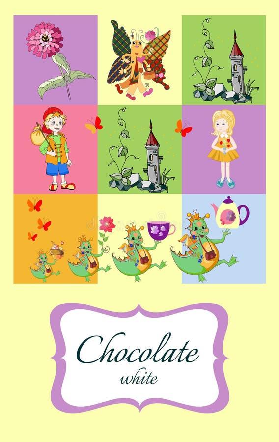Фантастичный шоколад Упаковывая план Цветок, башня, мальчик, девушка, бабочка, драконы фантазии с чайником, чашка и торт иллюстрация штока