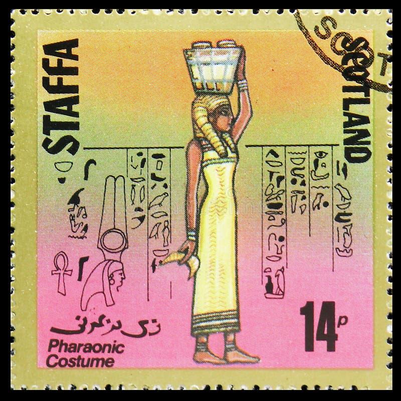 Фараонский костюм, сбор 14 p, serie Staffa Шотландии, около 1980 стоковые изображения rf