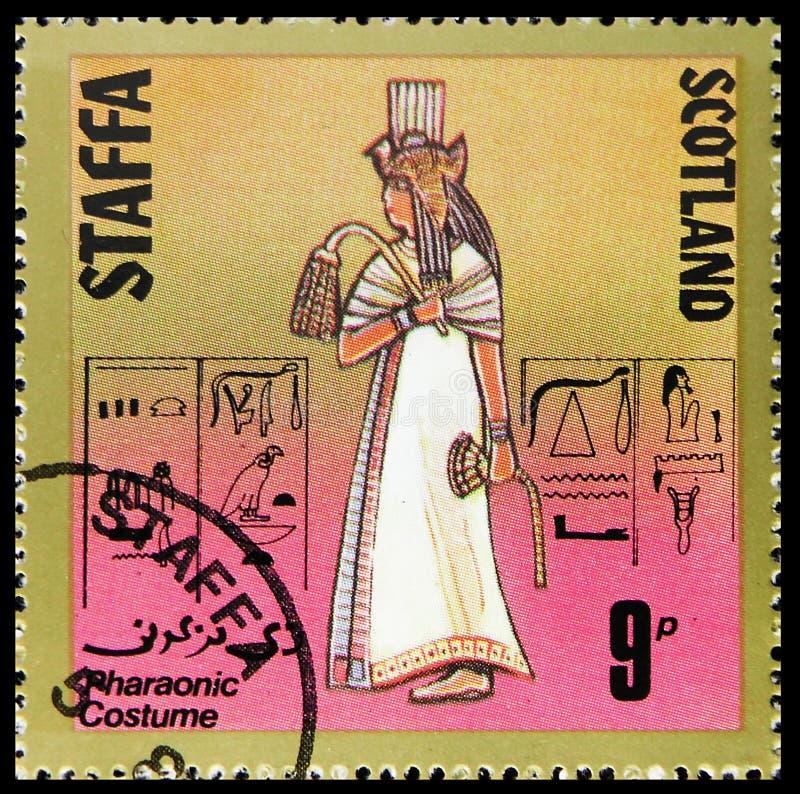 Фараонский костюм, сбор 9 p, serie Staffa Шотландии, около 1980 стоковое изображение