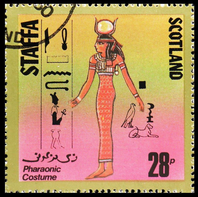 Фараонский костюм, сбор 28 p, serie Staffa Шотландии, около 1980 стоковое фото rf