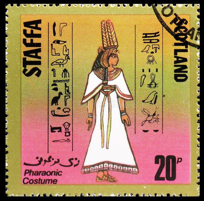 Фараонский костюм, сбор 20 p, serie Staffa Шотландии, около 1980 стоковая фотография