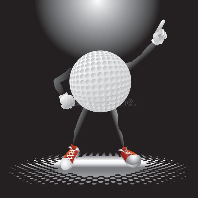 фара гольфа характера шарика вниз иллюстрация вектора