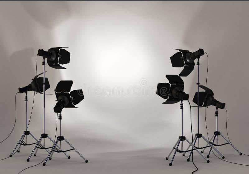 Фара освещения студии на стене стоковые фотографии rf