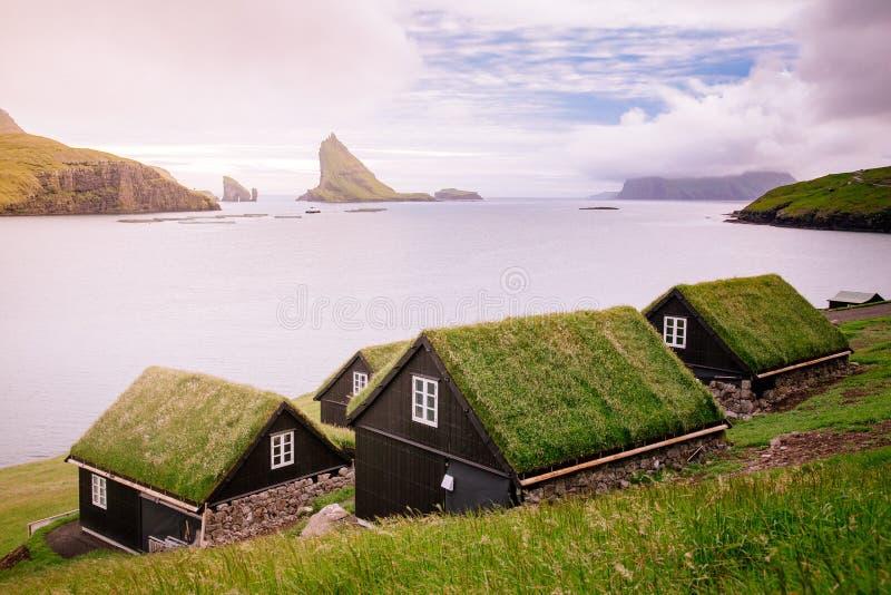 Фарерские острова, Европа Крыши и фьорд травы стоковое изображение rf