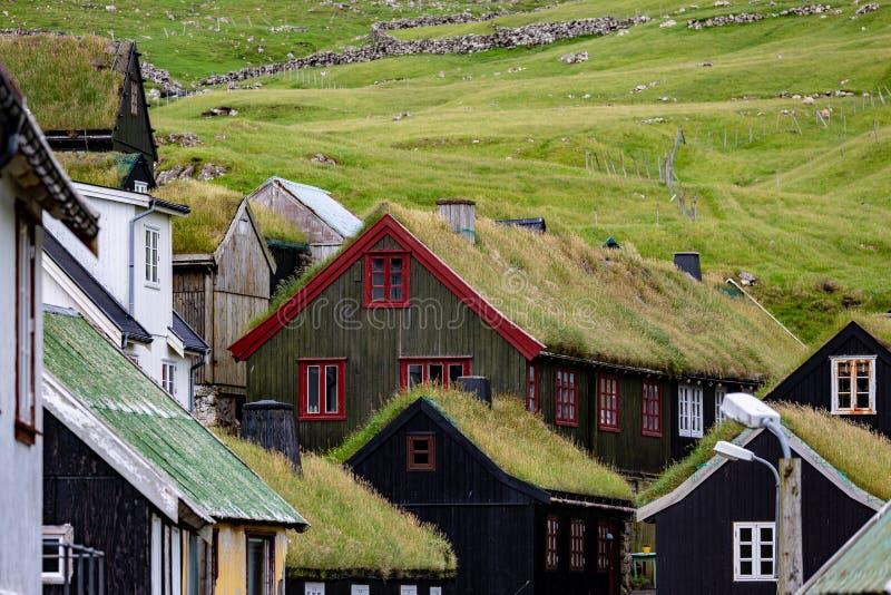 Фарерские острова, Европа Крыши травы и зеленые поля стоковые изображения rf
