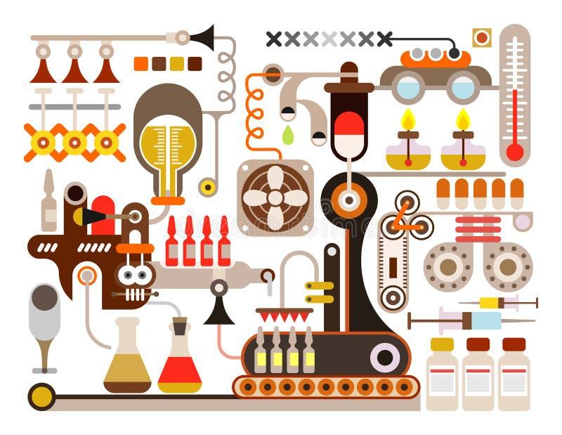 Фармацевтическая фабрика, медицинская лаборатория иллюстрация штока