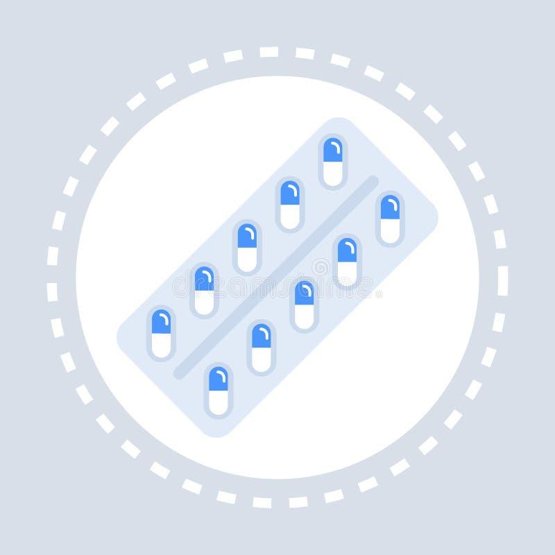 Фармацевтические таблетки или витамины в медицине логотипа медицинского обслуживания здравоохранения значка пакета волдыря и конц бесплатная иллюстрация