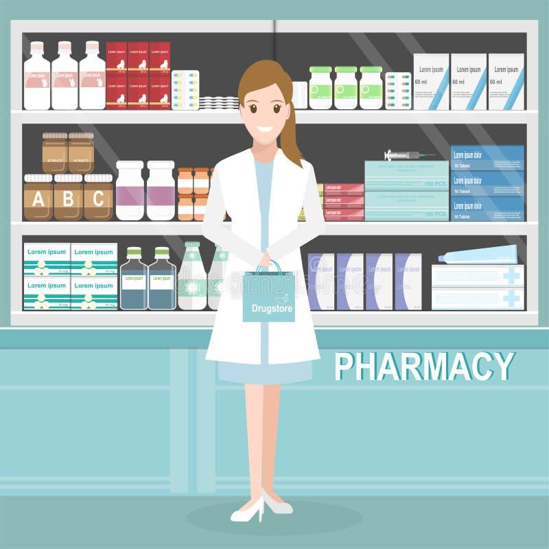 Фармация или аптека с аптекарем женщины на счетчике бесплатная иллюстрация