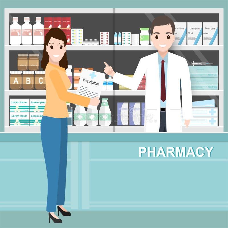 Фармация или аптека с аптекарем и женщиной держа рецепты иллюстрация штока