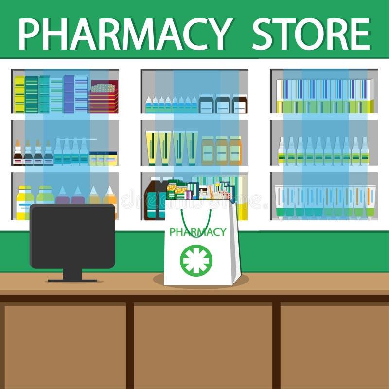 Фармация и аптека Хозяйственная сумка продажи белая с различными медицинскими пилюльками и бутылками Иллюстрация вектора простая бесплатная иллюстрация