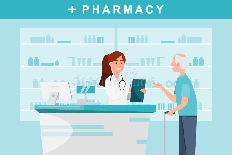 фармация с аптекарем и клиентом в счетчике бесплатная иллюстрация