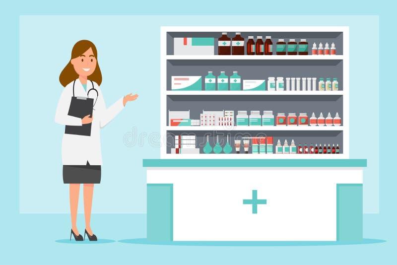 фармация с аптекарем и клиентом в счетчике иллюстрация вектора