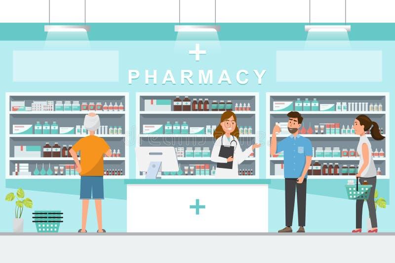 фармация с аптекарем и клиентом в счетчике иллюстрация штока