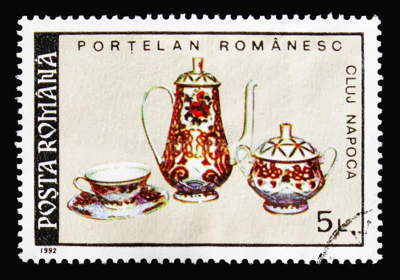 Фарфор - обслуживание чая, румынское serie фарфора, около 1992 стоковые изображения