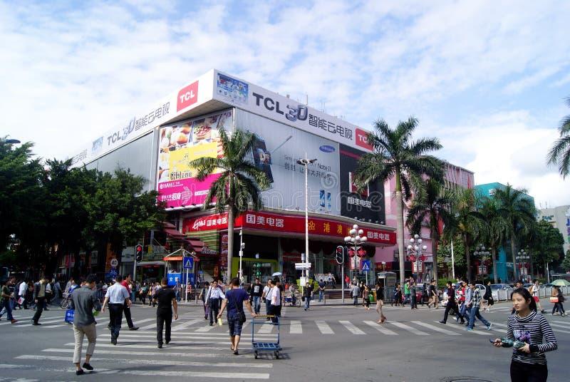 Фарфор Шэньчжэня: улица qiang северная коммерчески стоковые изображения rf