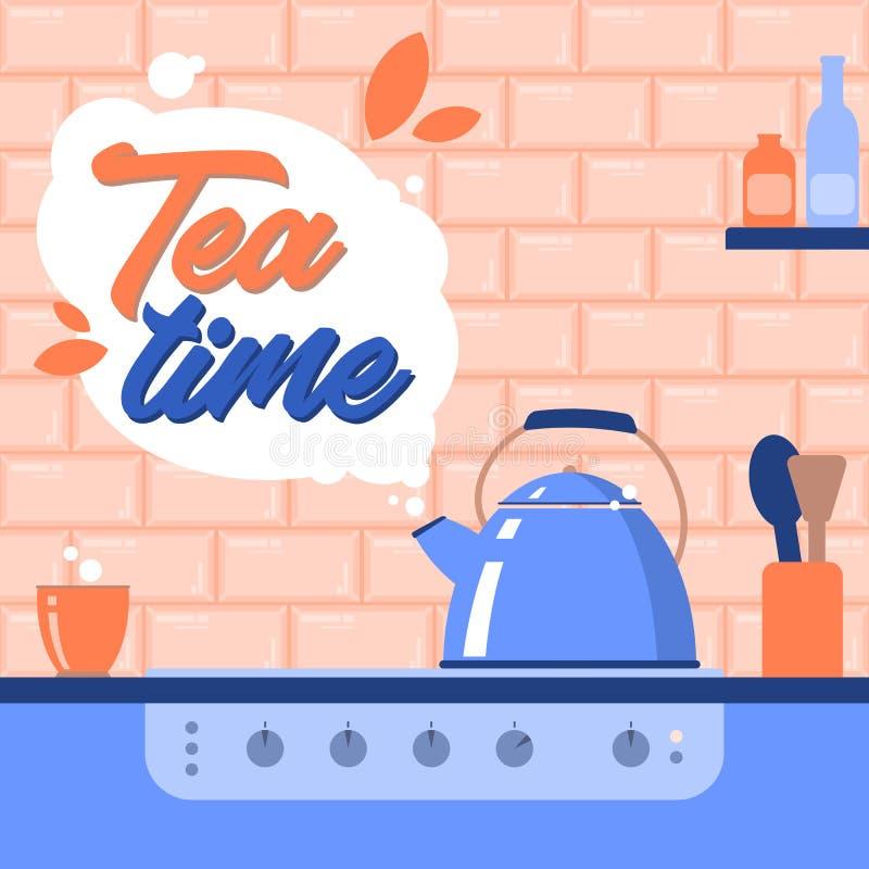 фарфор dishes свежее время чая клубник фарфора E иллюстрация иллюстрация штока