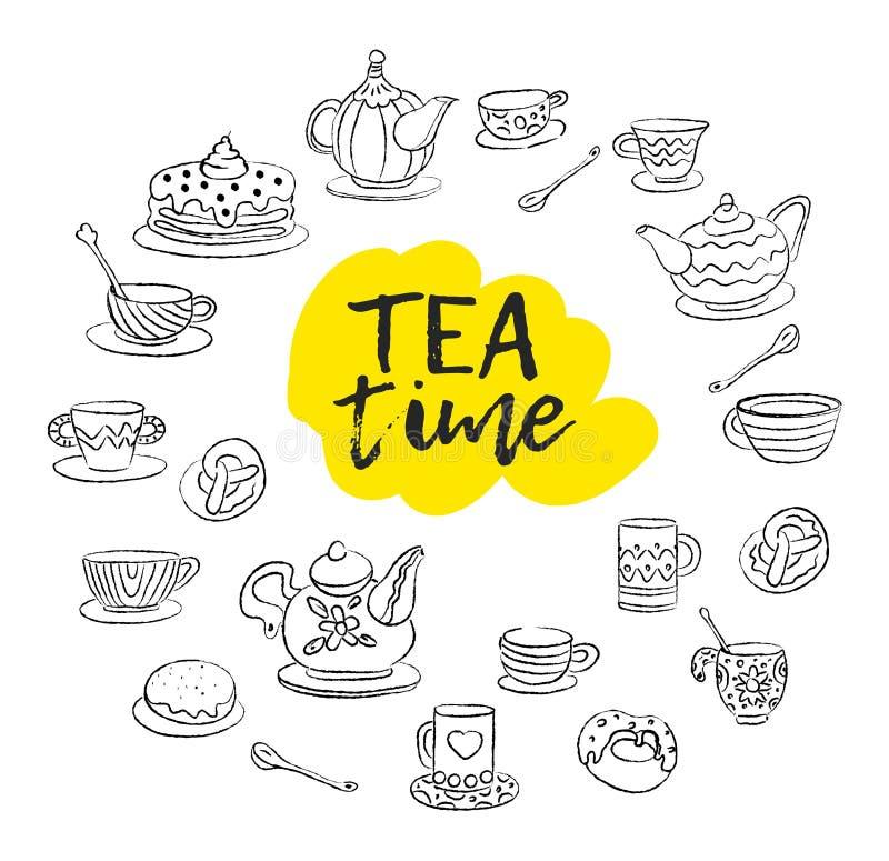 фарфор dishes свежее время чая клубник фарфора Свирли, кружки, чайник, торты, плюшки, чашки различных дизайнов Стиль эскиза Doodl иллюстрация вектора