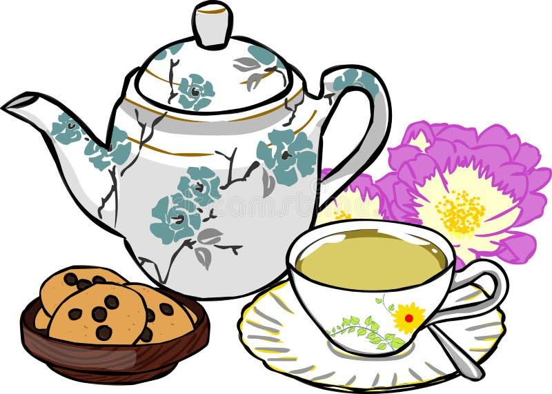 фарфор dishes свежее время чая клубник фарфора иллюстрация штока