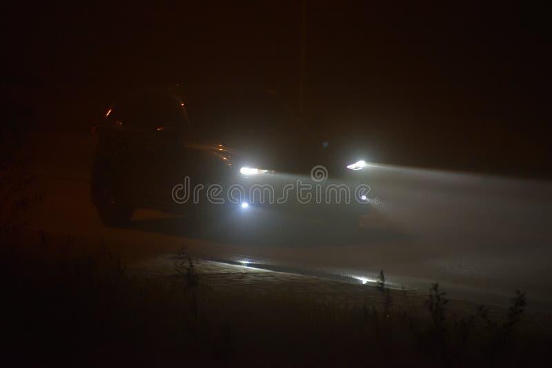 Фары автомобиля в густом тумане стоковая фотография rf