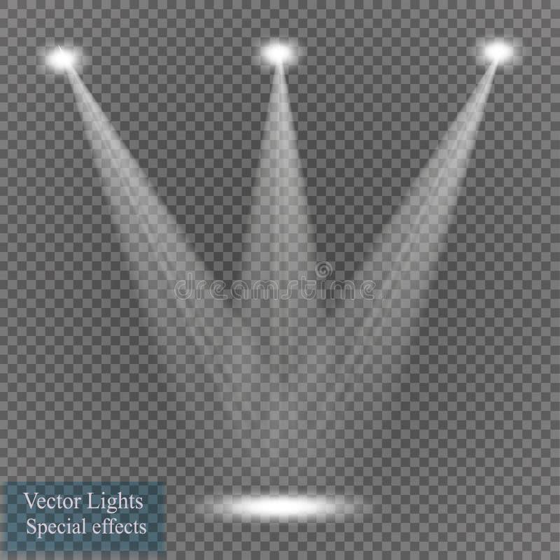 Фары вектора место производит эффект большое светлое представление партии иллюстрация штока