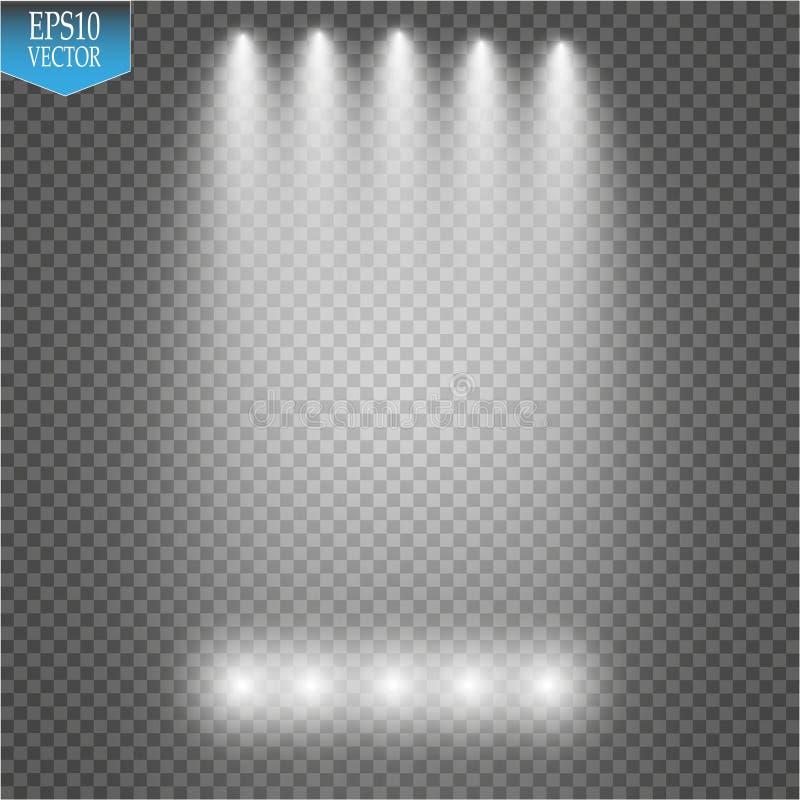 Фары вектора место производит эффект большое светлое представление партии иллюстрация вектора