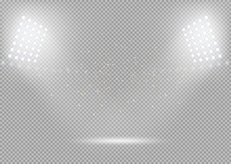 Фары вектора Сцена подиума Яркие светлые влияния вектора иллюстрация штока