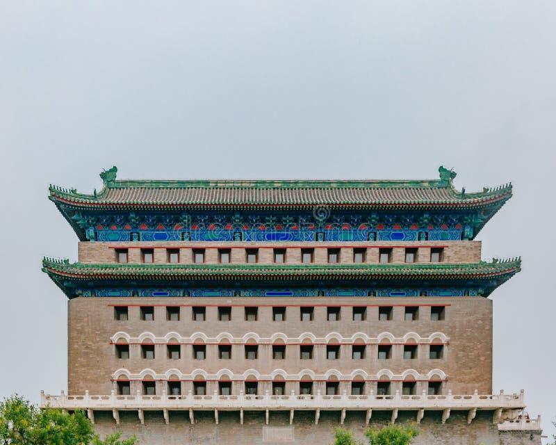Фасад башни archery ворот Zhengyang, в центре города Пекин, Китай стоковые фотографии rf