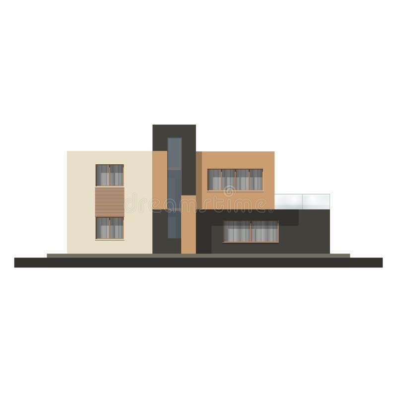 Фасад дома высокой технологии вектора Дом в минималистичном стиле иллюстрация штока
