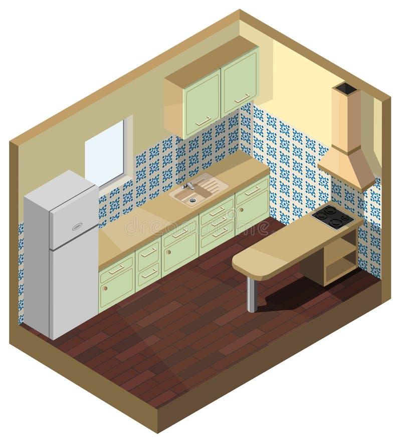 фасад зеленого цвета кухни равновеликой иллюстрации вектора 3d внутренний иллюстрация штока