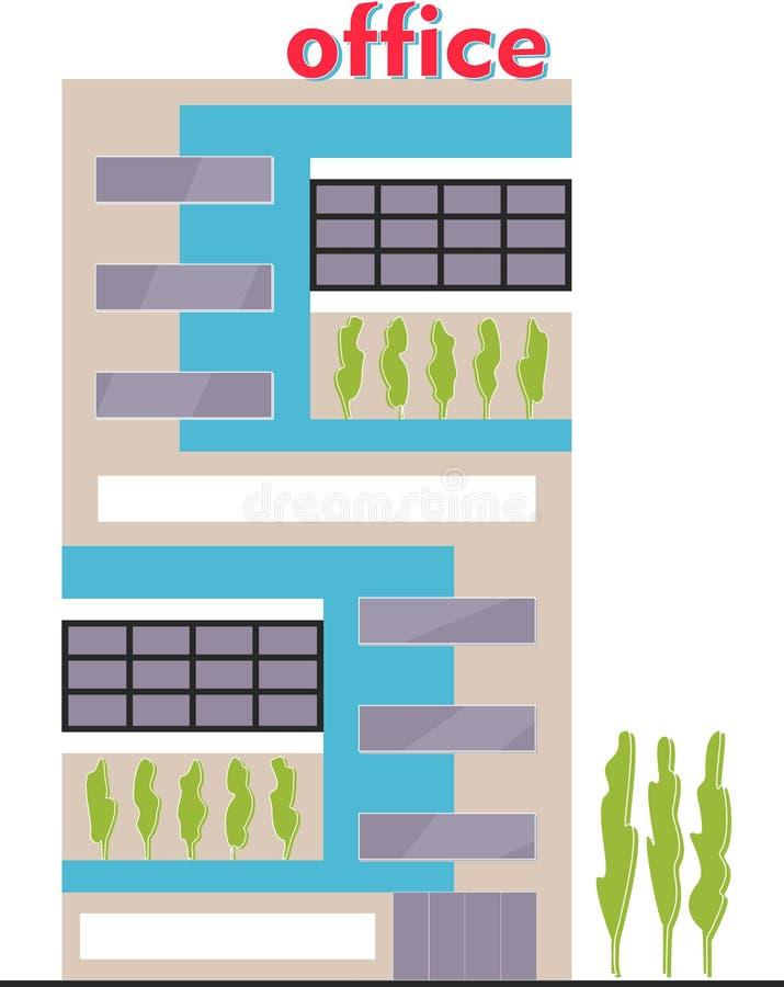 Фасад организации бизнеса Экстерьер офисного здания r иллюстрация вектора