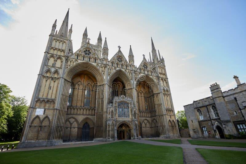 Фасад собора Peterborough западный передний стоковое фото