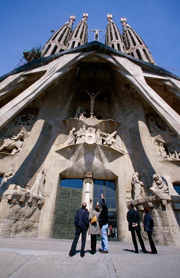 Фасад страсти церков Sagrada Familia. стоковое фото rf