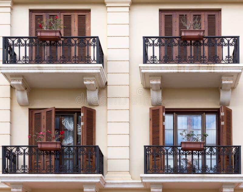 Фасад с балконами стоковое изображение