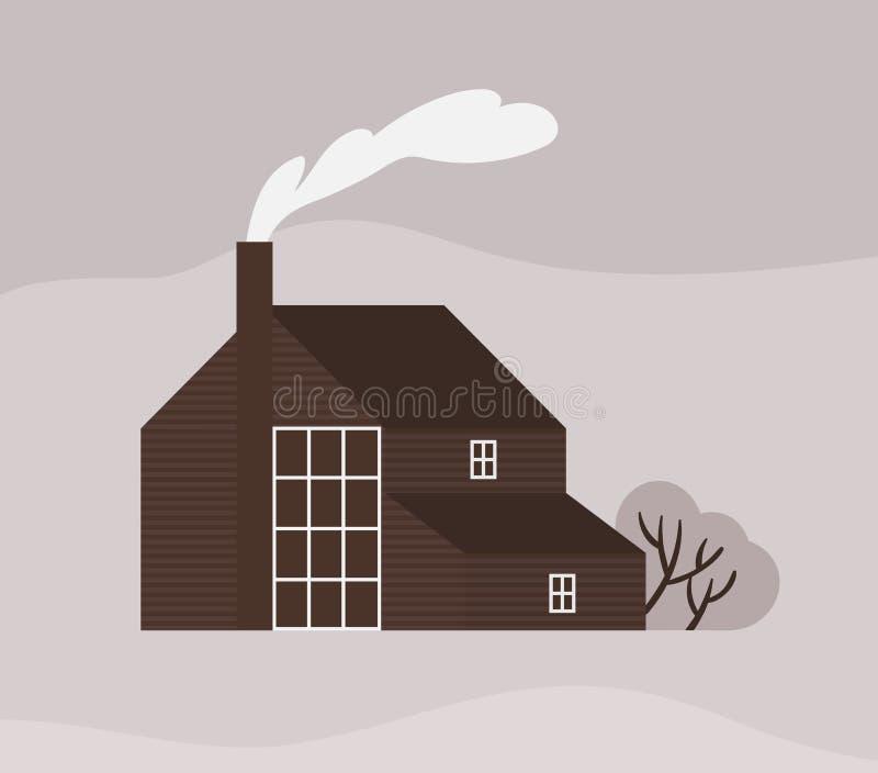 Фасад таунхауса или коттеджа в стиле Scandic Деревянное скандинавское здание с загородкой Современная пригородная резиденция или иллюстрация штока
