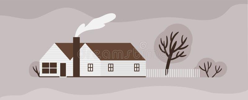 Фасад таунхауса или коттеджа в стиле Scandic Деревянное скандинавское здание с загородкой Современная пригородная резиденция или иллюстрация вектора