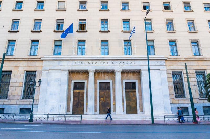 Фасад центрального здания национального банка Греции в Афинах стоковое изображение