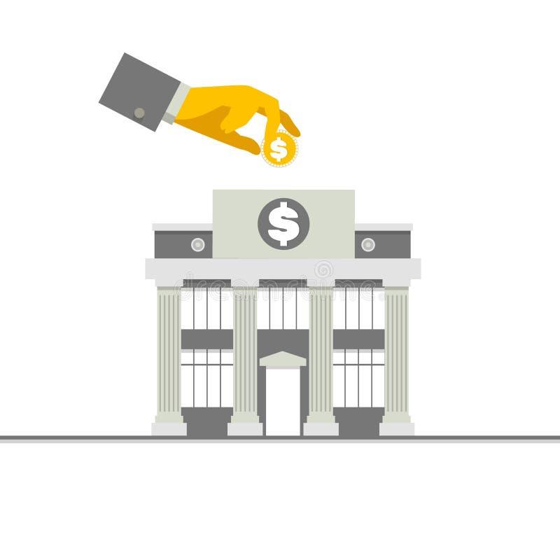 Фасад здания банка с столбцами и рукой с монеткой Плоская иллюстрация вектора бесплатная иллюстрация