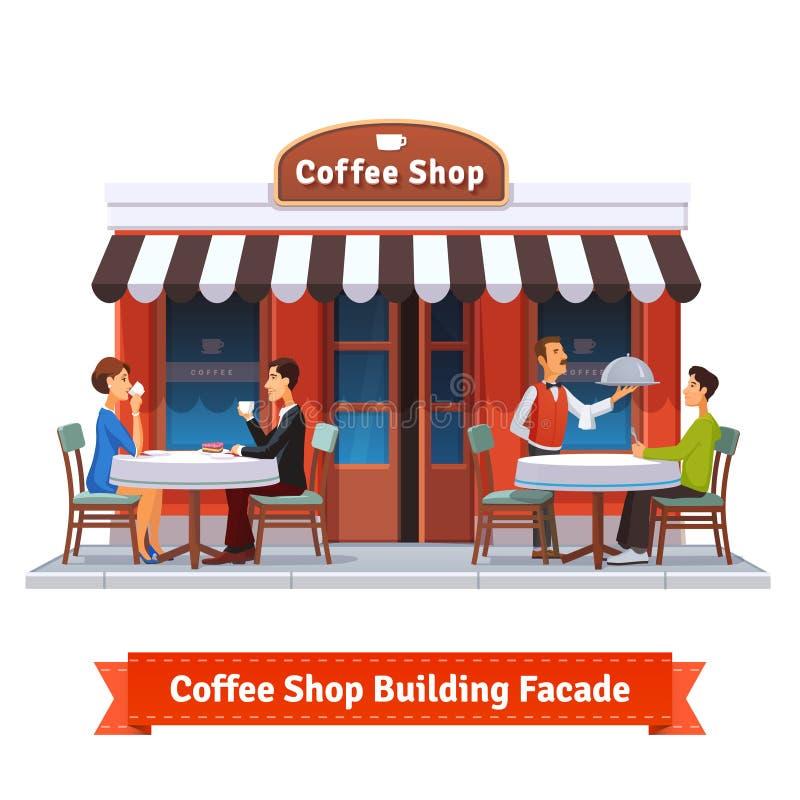 Фасад здания кофейни с шильдиком иллюстрация вектора