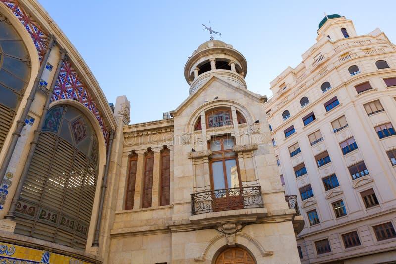 Фасад Испания зада центрального рынка Валенсии Mercado стоковое изображение rf