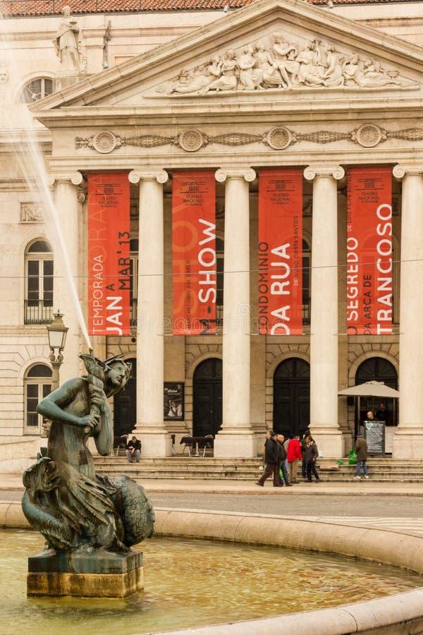 Фасад национального Teather. Лиссабон. Португалия стоковое изображение rf