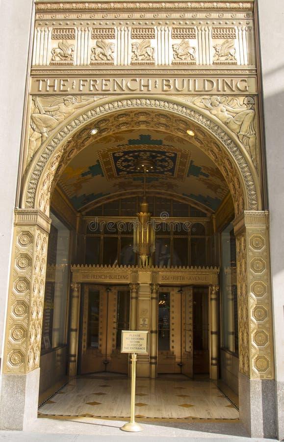 Фасад стиля Арт Деко на Фреде F. Французе Здании в Манхаттане стоковые изображения rf