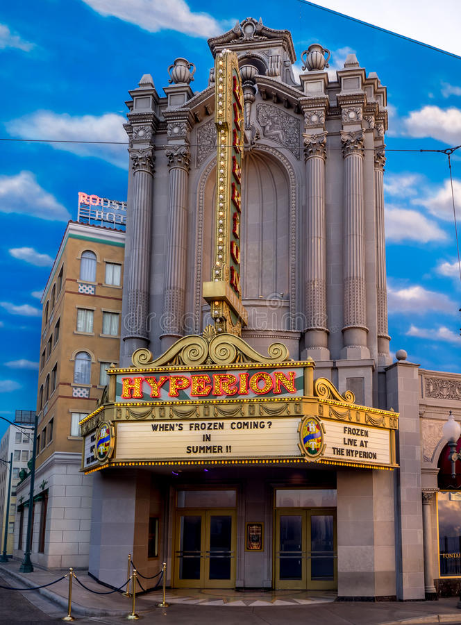 Фасад Hyperion на бульваре Голливуда, парке приключения Дисней Калифорнии стоковое изображение