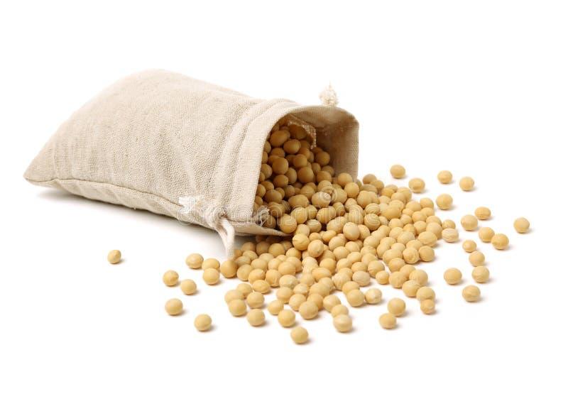Фасоли сои в мешочке из ткани стоковое фото