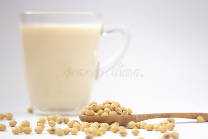 фасоли сои, соевое молоко и деревянная ложка изолированные на белом backgro стоковое изображение