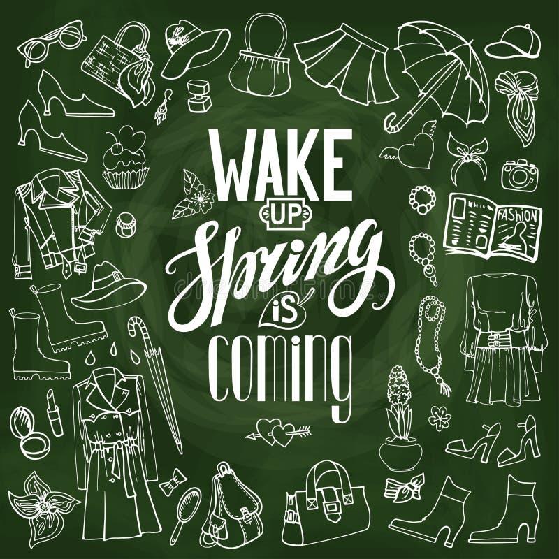 фасонируйте весну Носка женщин, цитата chalkboard иллюстрация штока