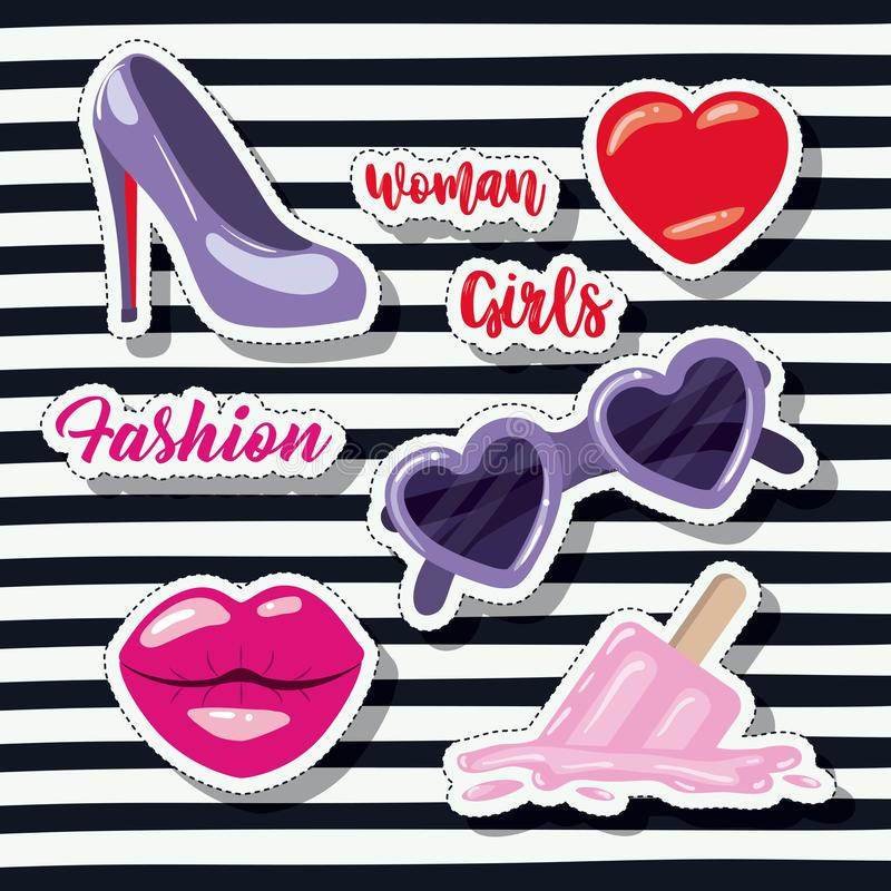 Фасонируйте девушкам женщины стикер элементов на предпосылке искусства шипучки striped черной бесплатная иллюстрация