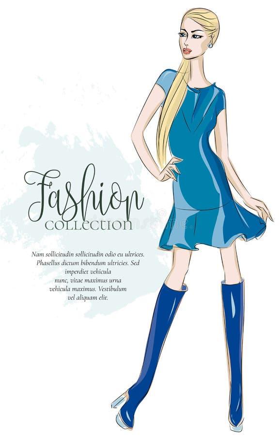 Фасонируйте девушку нося голубое платье, модель женщины стиля эскиза с шаблоном текста, иллюстрацией иллюстрация штока