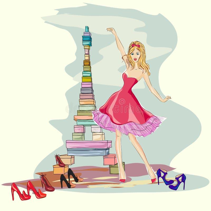 Фасонируйте девушку счастливую с ее ботинками собранием и коробками как Эйфелева башня в Париже бесплатная иллюстрация